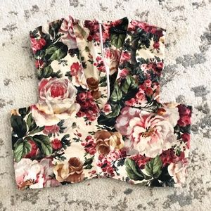 Zara Rose Floral Vest Top Crop Shirt Tank XS EUC